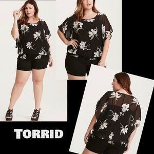Torrid Floral Cinch Waist Dolman Top